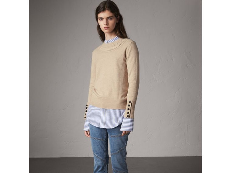 Cable-knit Yoke Cashmere Sweater in Taupe Melange - Women | Burberry - cell image 4
