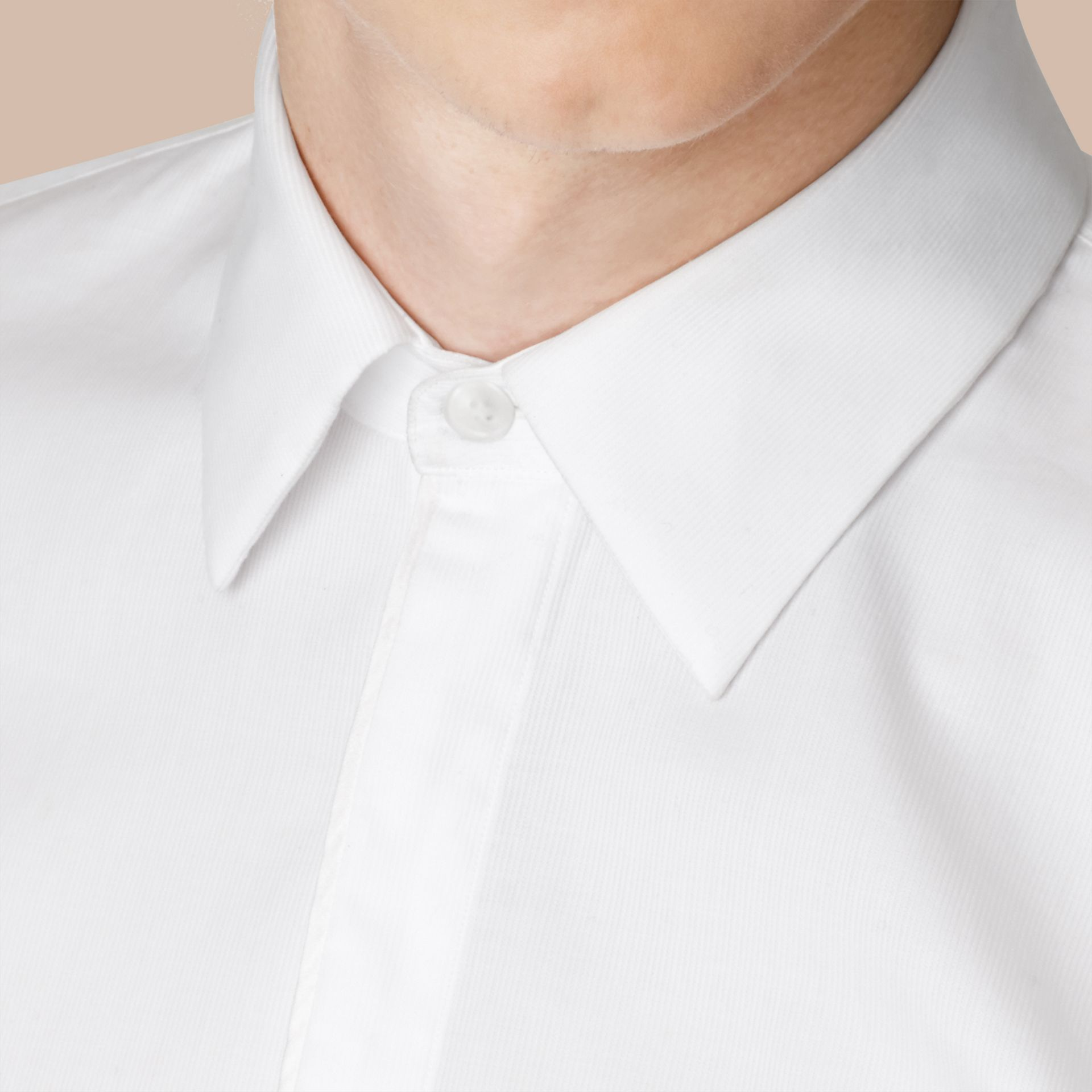 Slim Fit Double-cuff Cotton Dress Shirt in White - Men | Burberry - gallery image 4