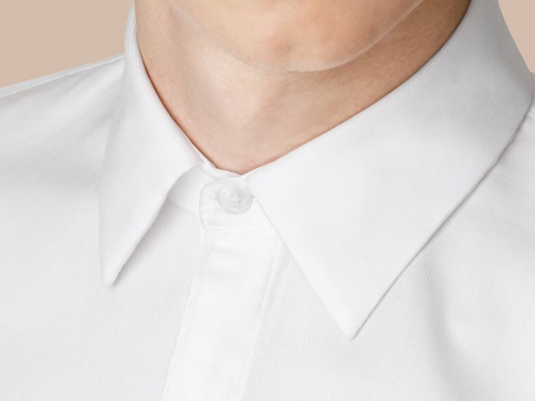 White Slim Fit Double-cuff Cotton Dress Shirt - cell image 4