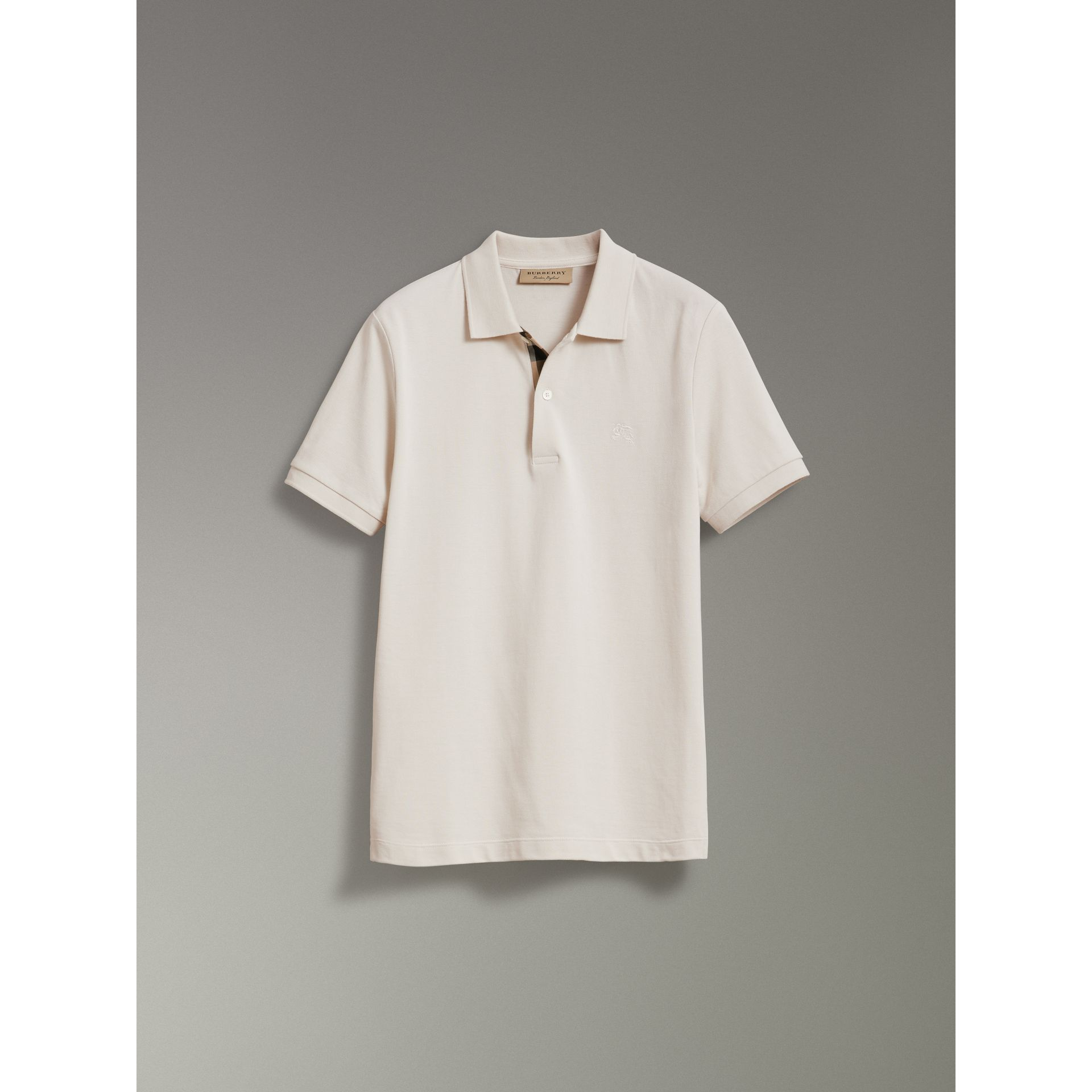 Check Placket Cotton Piqué Polo Shirt in Light Stone - Men | Burberry - gallery image 3