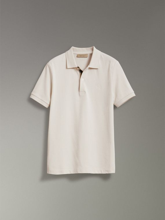 Check Placket Cotton Piqué Polo Shirt in Light Stone - Men | Burberry - cell image 3