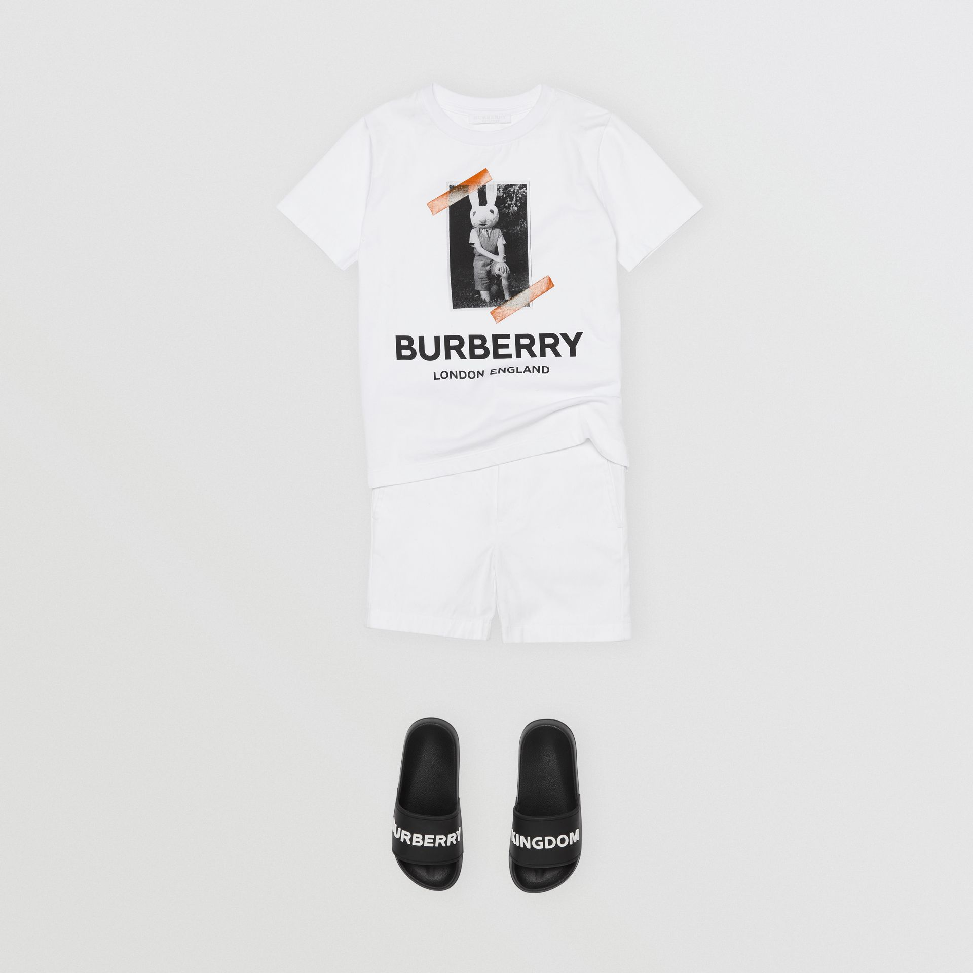 Vintage Photo Print Cotton T-shirt in White | Burberry Hong Kong - gallery image 3