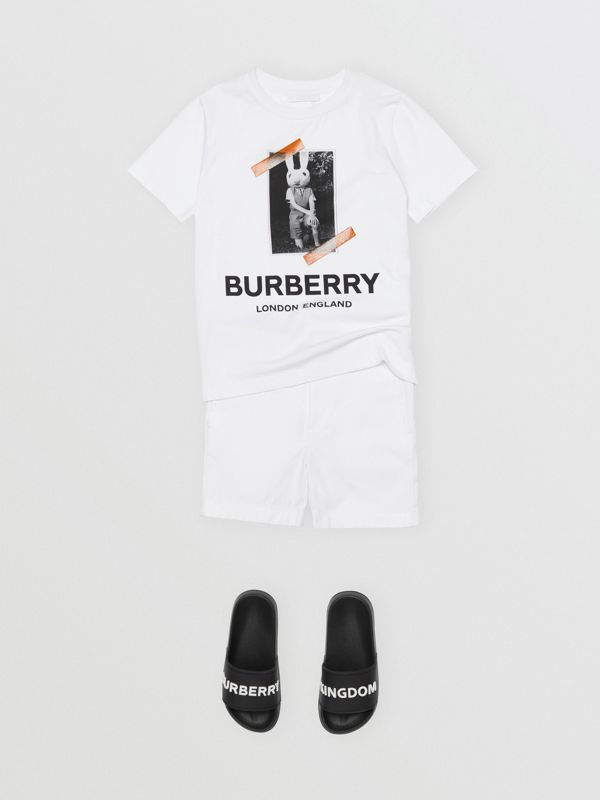 Vintage Photo Print Cotton T-shirt in White | Burberry Australia - cell image 3