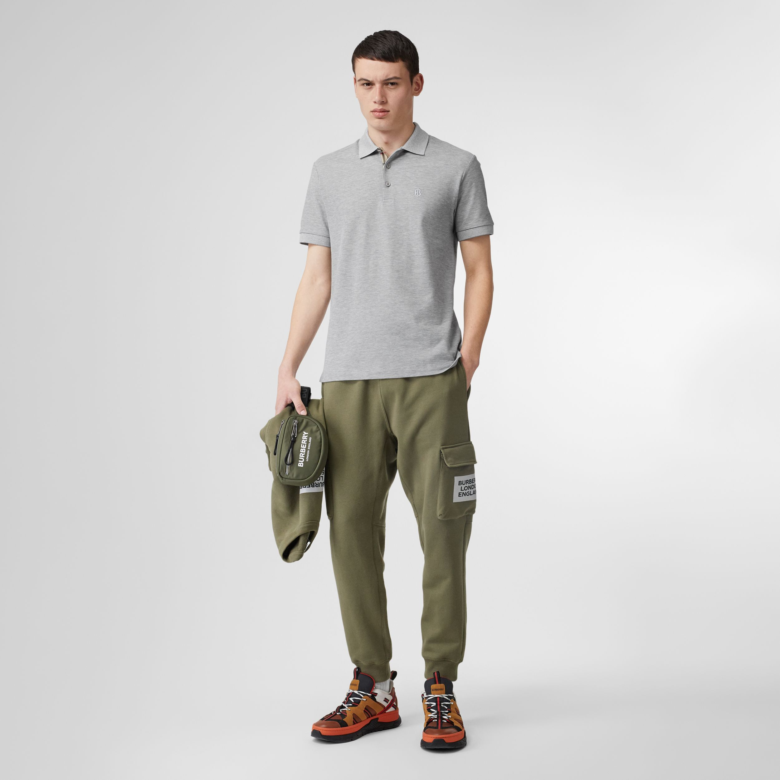 Monogram Motif Cotton Piqué Polo Shirt in Pale Grey Melange - Men | Burberry Australia - 1