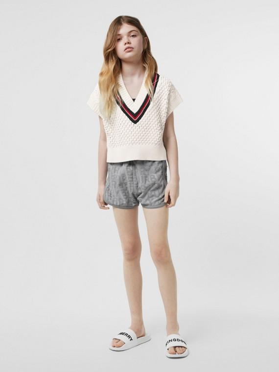 Blusa de lã merino de algodão com detalhe de listra (Branco)