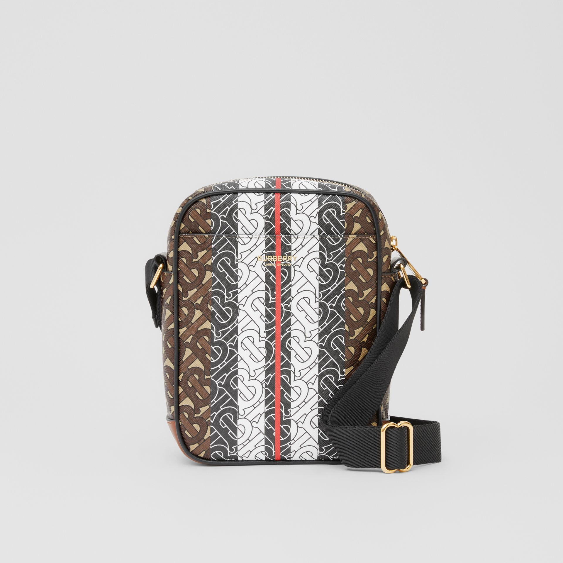 Monogram Stripe Print E-canvas Crossbody Bag in Bridle Brown - Men | Burberry United Kingdom - gallery image 0