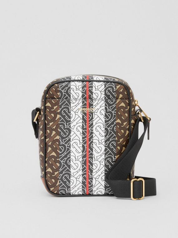 Monogram Stripe Print E-canvas Crossbody Bag in Bridle Brown