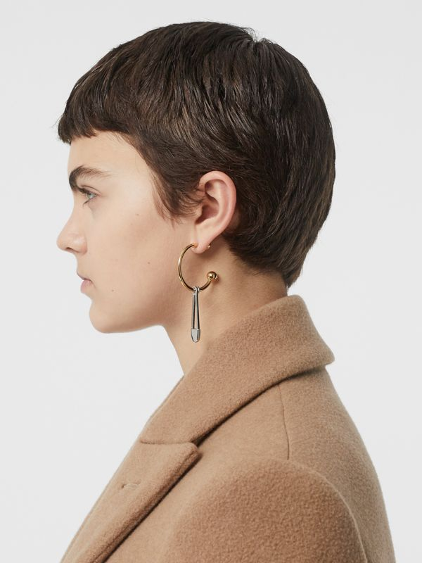 Kilt Pin Gold and Palladium-plated Hoop Earrings in Light Gold/palladio - Women | Burberry United States - cell image 2