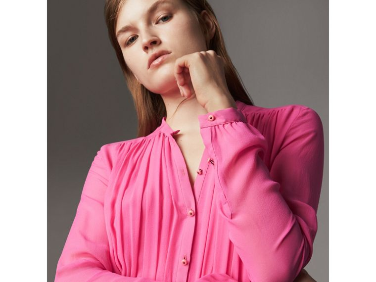 Gathered Silk Georgette Dress in Neon Pink - Women | Burberry - cell image 4