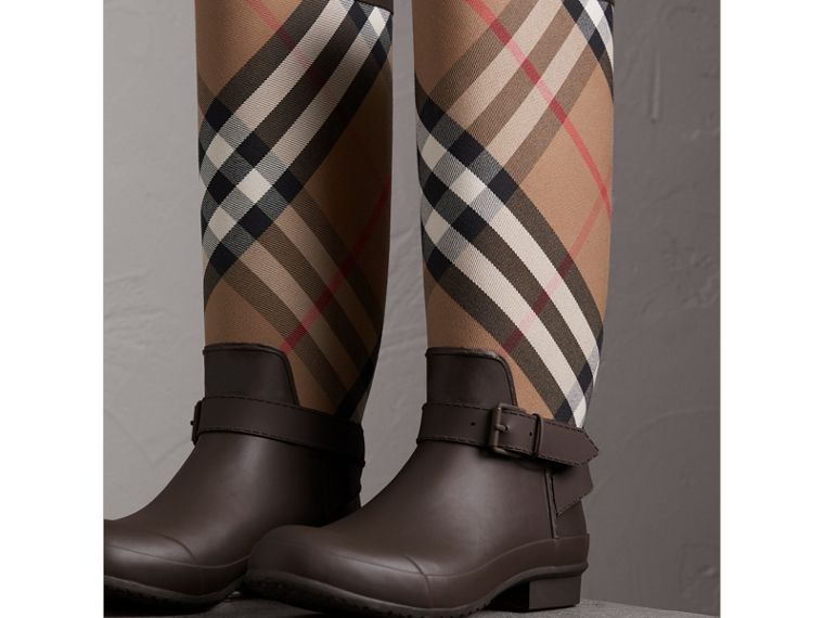 Belt Detail House Check and Rubber Rain Boots in Bitter Chocolate - Men | Burberry - cell image 4