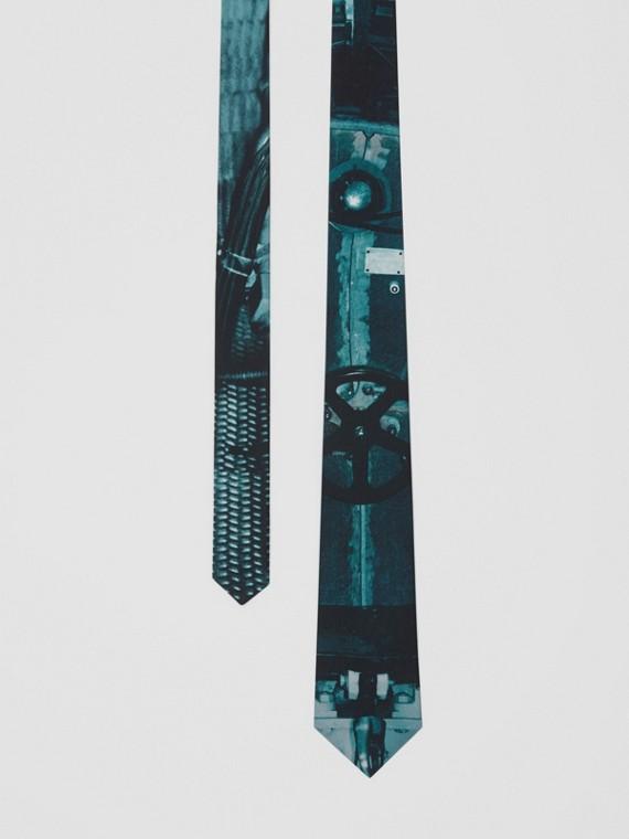 Cravate classique en soie avec imprimé sous-marin (Bleu Canard Intense)