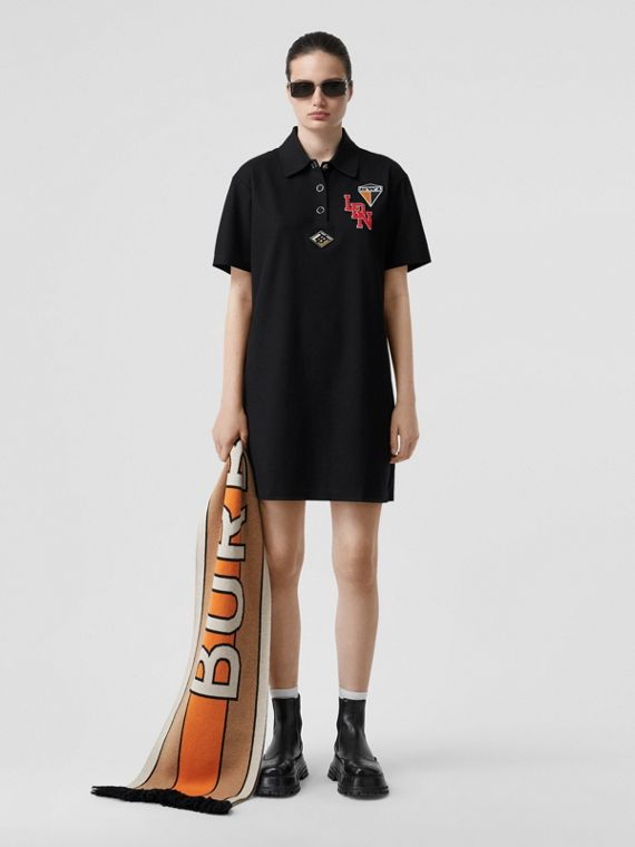 Logo Graphic Cotton Piqué Dress in Black