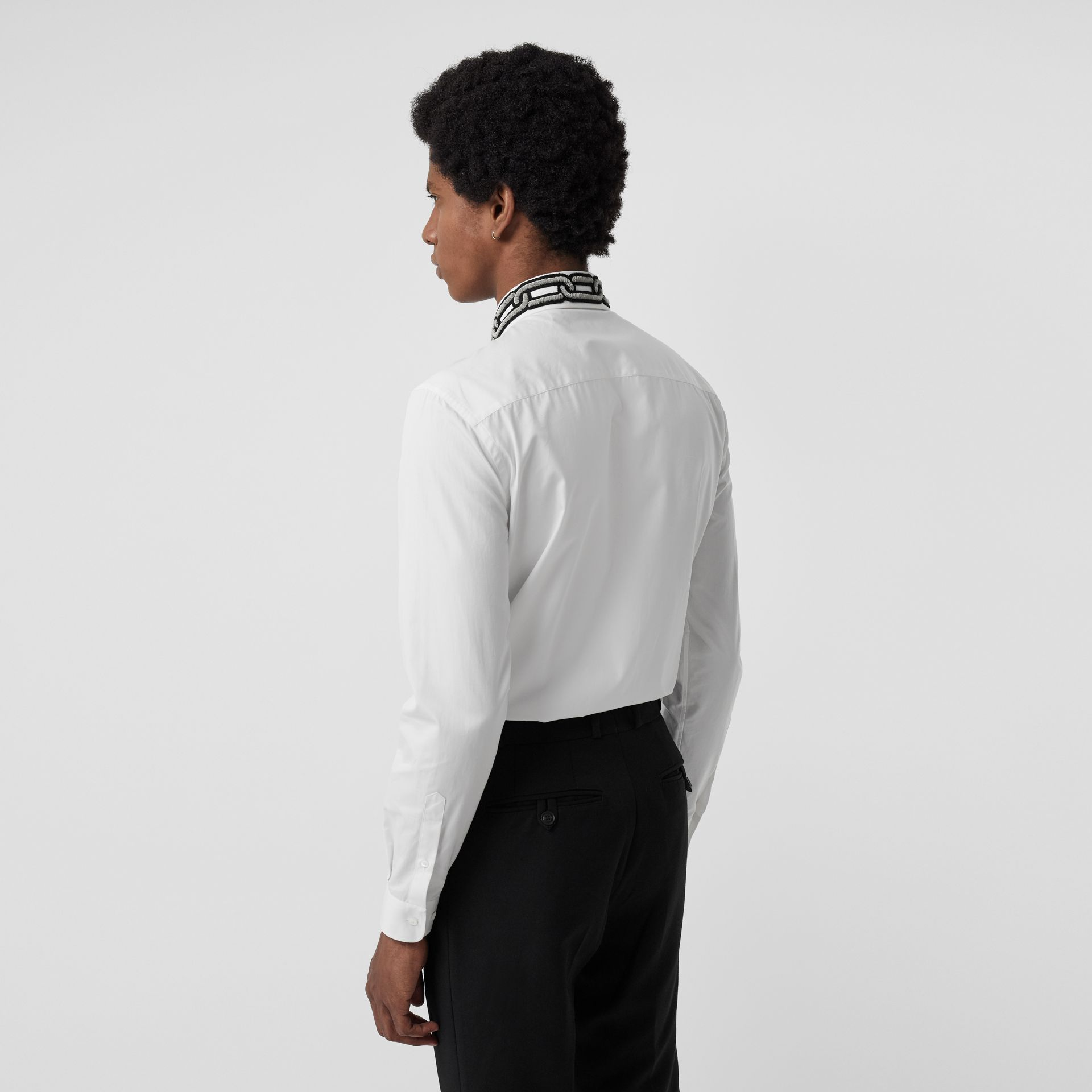 Slim Fit Bullion Link Cotton Poplin Dress Shirt in White - Men | Burberry Canada - gallery image 2