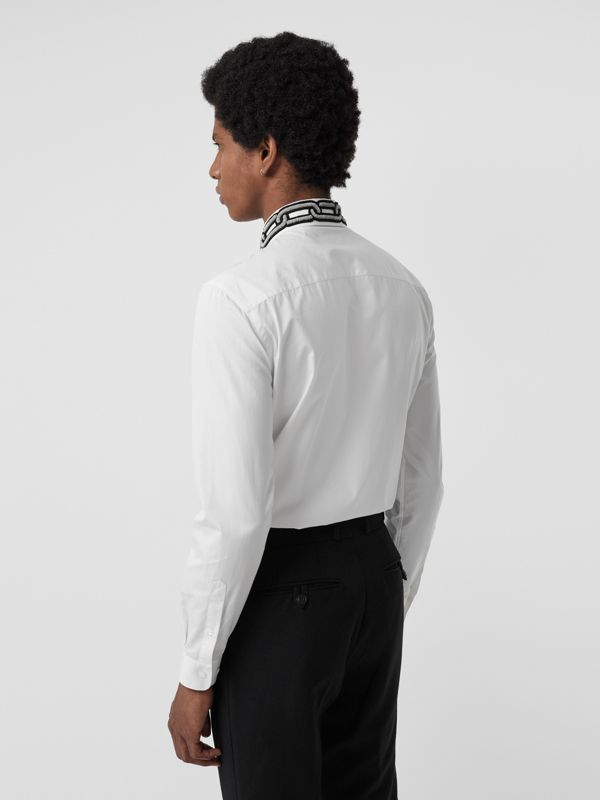 Slim Fit Bullion Link Cotton Poplin Dress Shirt in White - Men | Burberry - cell image 2