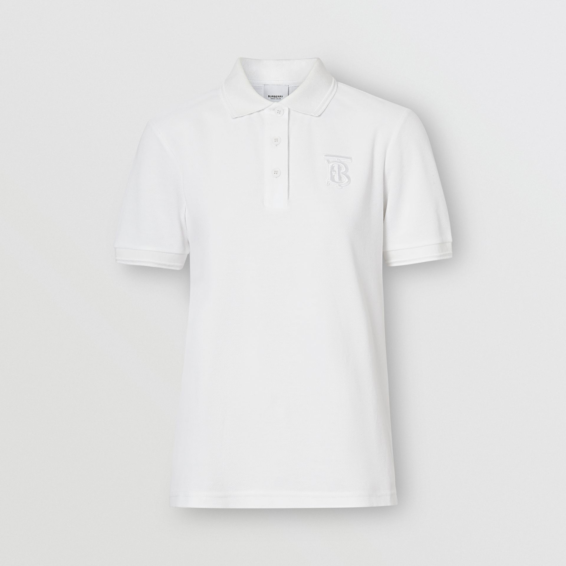 Monogram Motif Cotton Piqué Polo Shirt in White - Women | Burberry - gallery image 3