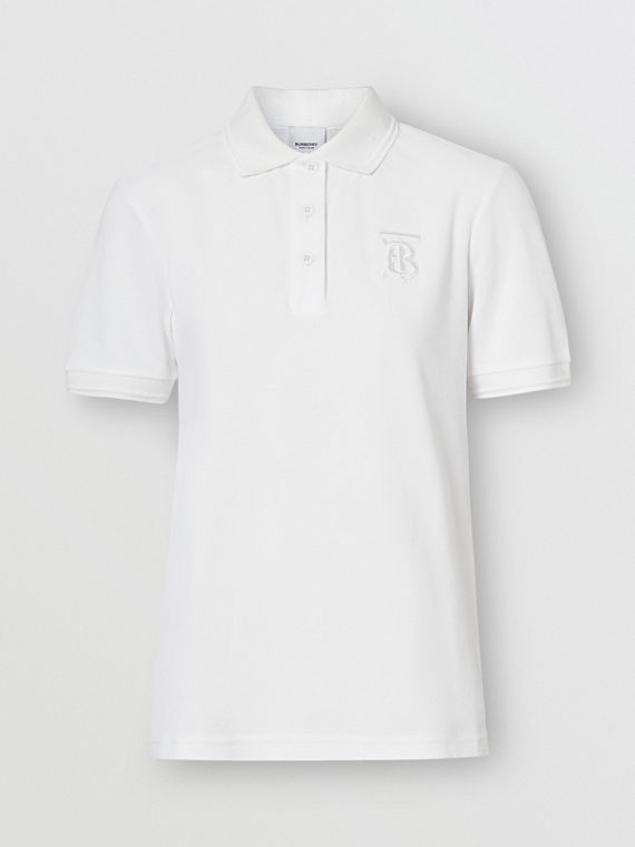Monogram Motif Cotton Piqué Polo Shirt in White