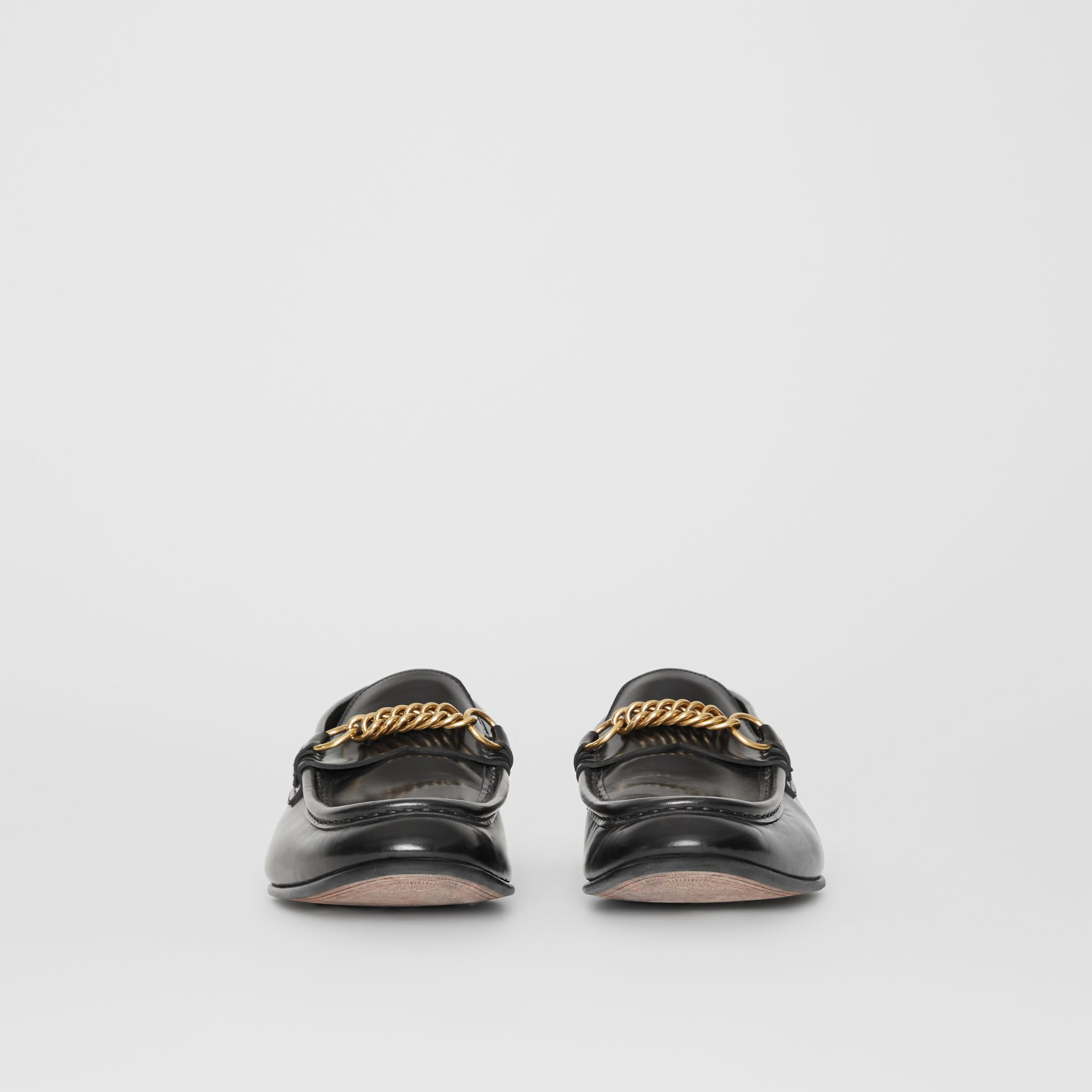 The Leather Link Loafer in Black - Men | Burberry - gallery image 3