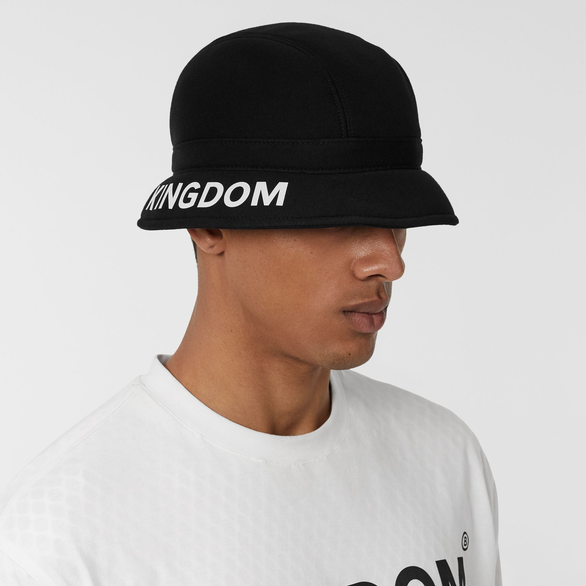 Kingdom Print Neoprene Bucket Hat in Black | Burberry - gallery image 6