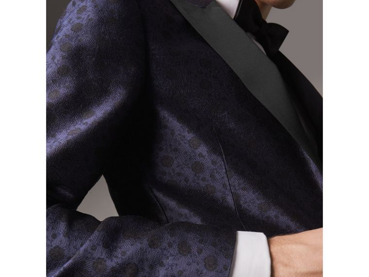 Soho Fit Silk Wool Jacquard Evening Jacket in Navy - Men | Burberry - cell image 4