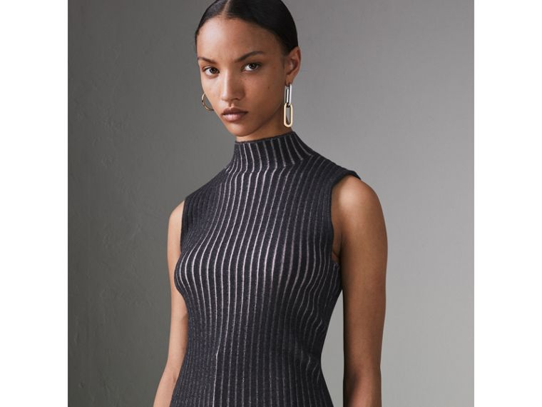 Sleeveless Rib Knit Cashmere Silk Turtleneck Sweater in Charcoal - Women | Burberry - cell image 4