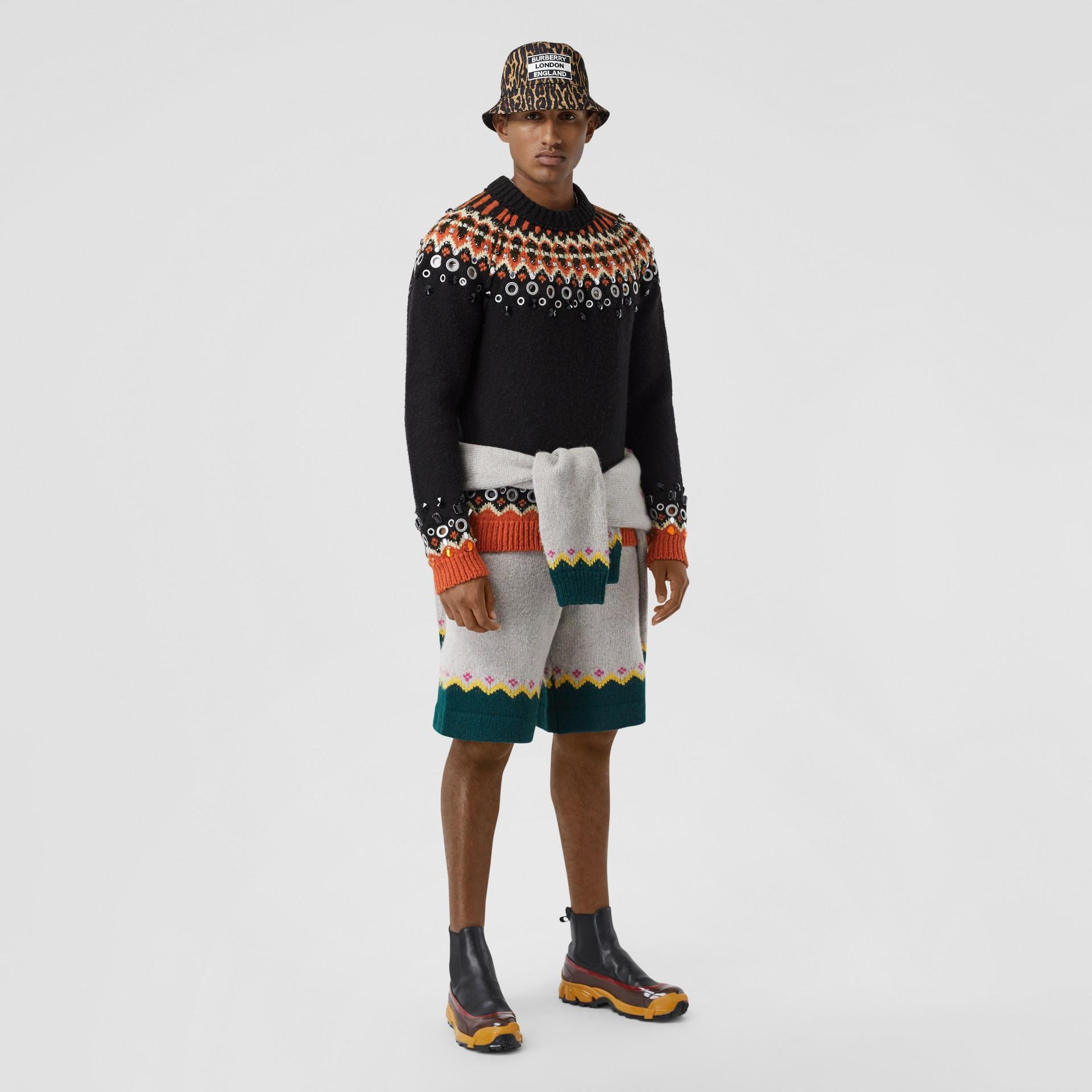 Embellished Fair Isle Wool Sweater in Black - Men | Burberry - gallery image 0