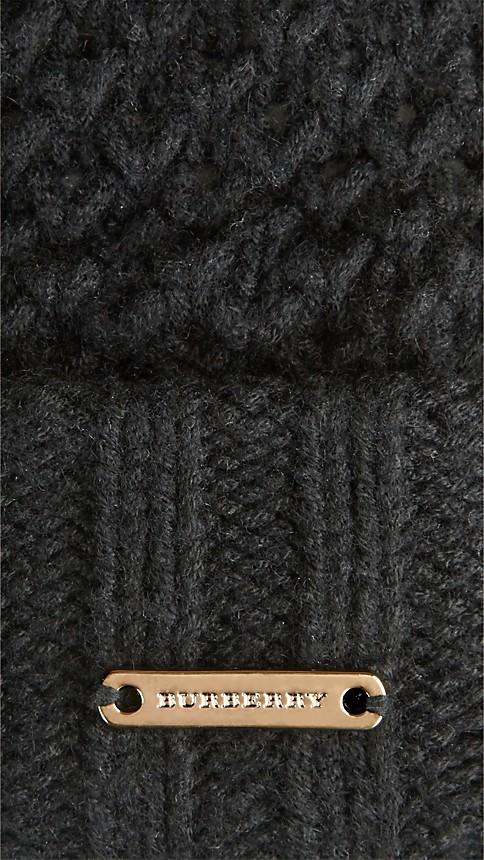 Black Fur Pom-Pom Beanie - Image 2