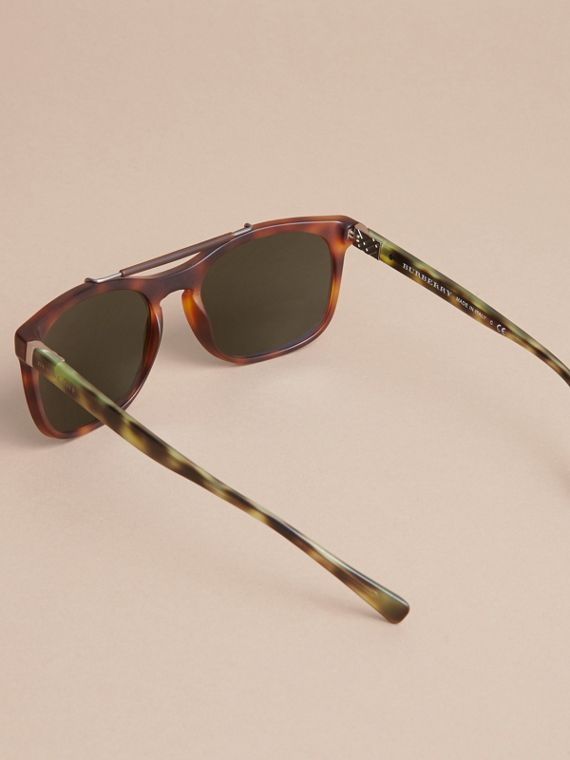 Top Bar Square Frame Sunglasses in Brown - Men | Burberry Australia - cell image 3