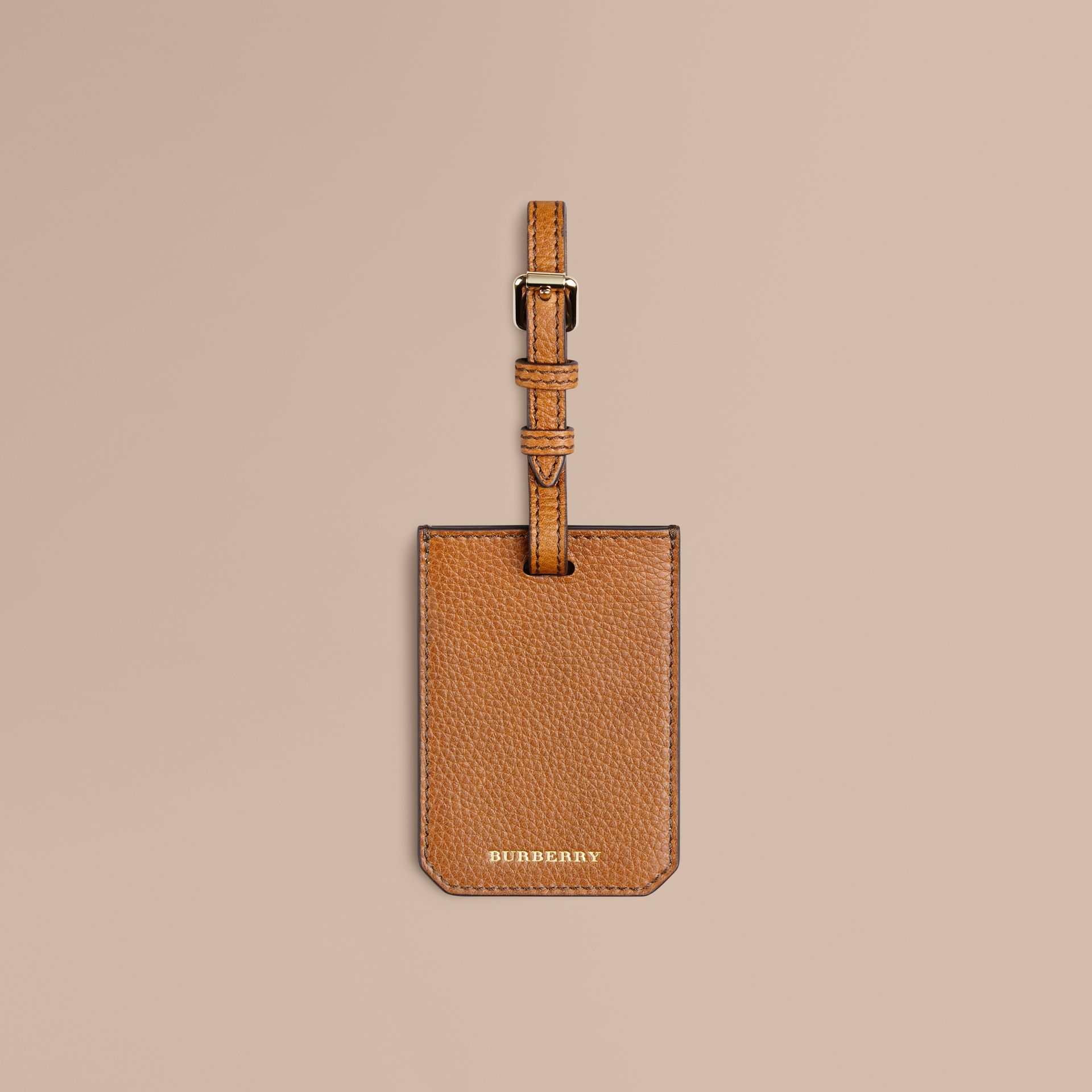 Grainy Leather Luggage Tag Tan - gallery image 1
