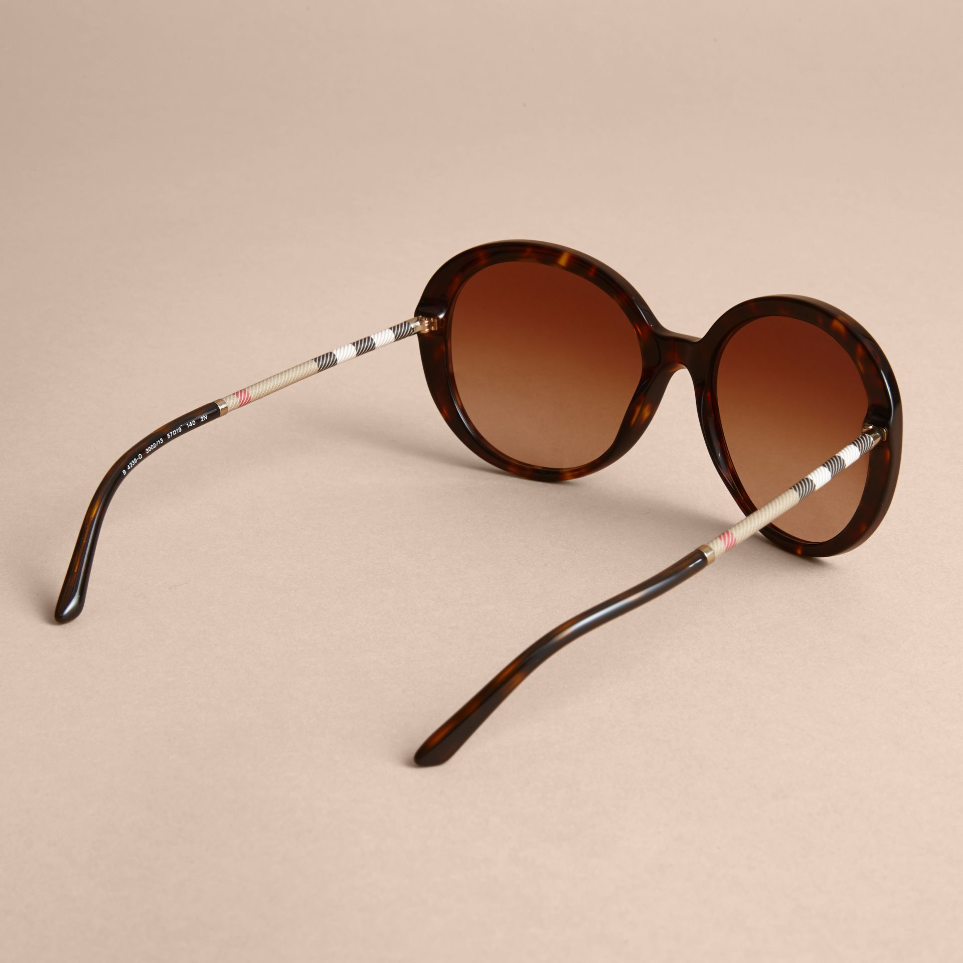 Check Detail Round Frame Sunglasses in Tortoise Shell - Women | Burberry - gallery image 4