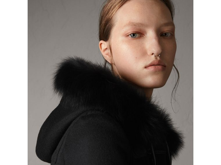 Detachable Fur Trim Wool Duffle Coat in Black - cell image 4