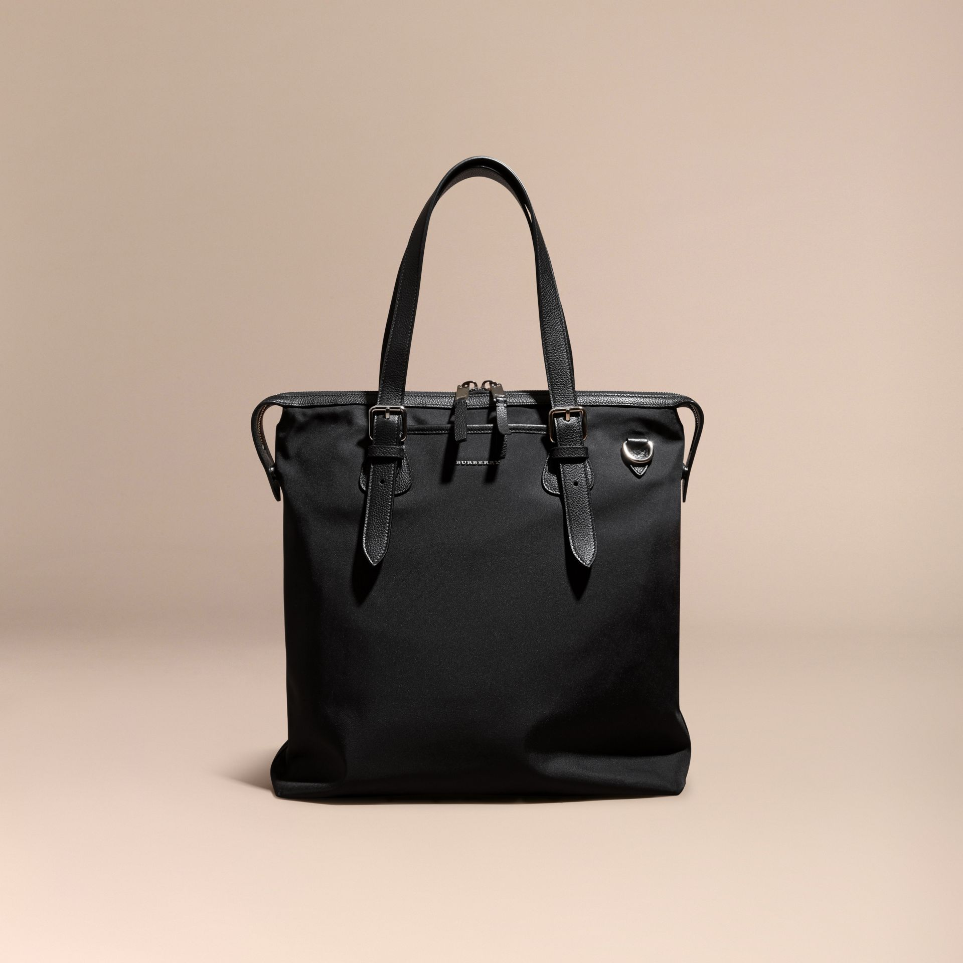 Black Leather Trim Tote Bag Black - gallery image 8