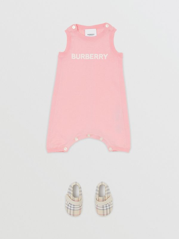 Logo Print Cotton Bodysuit in Pale Rose Pink - Children | Burberry - cell image 2