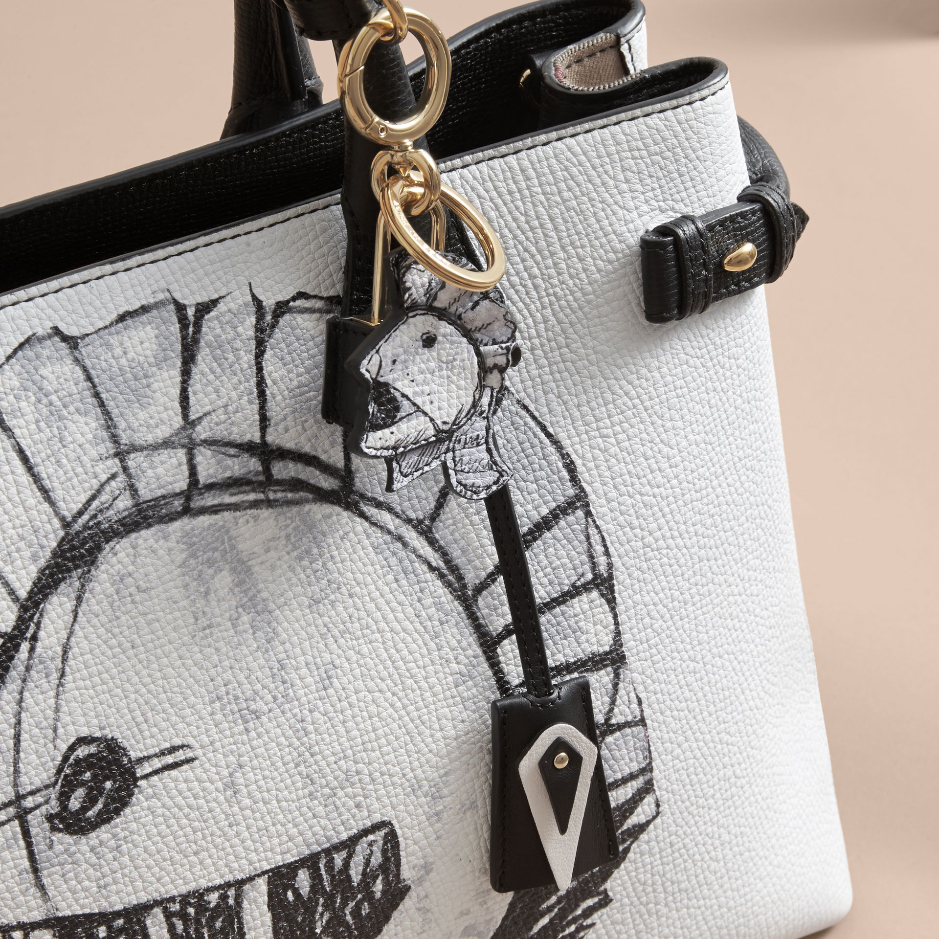 Pallas Helmet Motif Leather Key Charm and Padlock in Black/white - Women | Burberry - gallery image 3