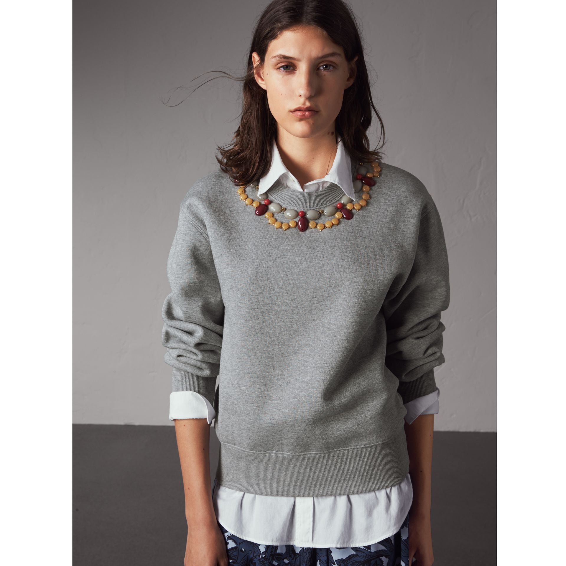 Gem-embellished Jersey Sweatshirt in Pale Grey Melange - Women | Burberry - gallery image 1