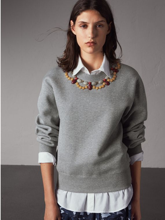 Sweat-shirt en jersey orné de pierres - Femme | Burberry