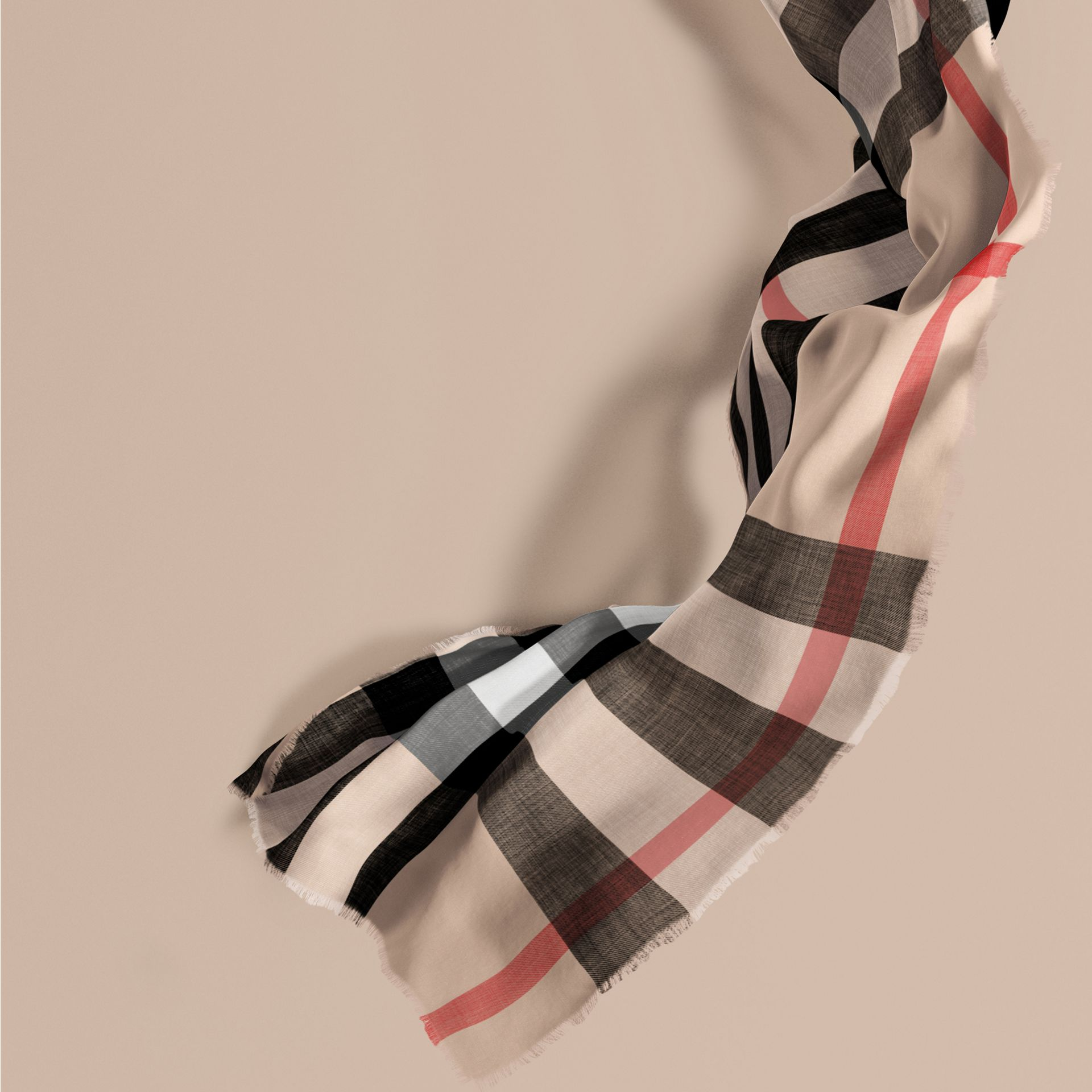 The Lightweight Cashmere Scarf in Check in Stone - gallery image 1