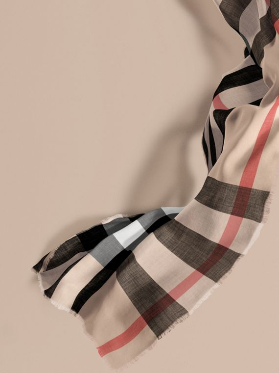 The Lightweight Cashmere Scarf in Check in Stone | Burberry Australia