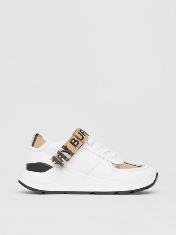 Logo Print Vintage Check and Leather Sneakers in Archive Beige