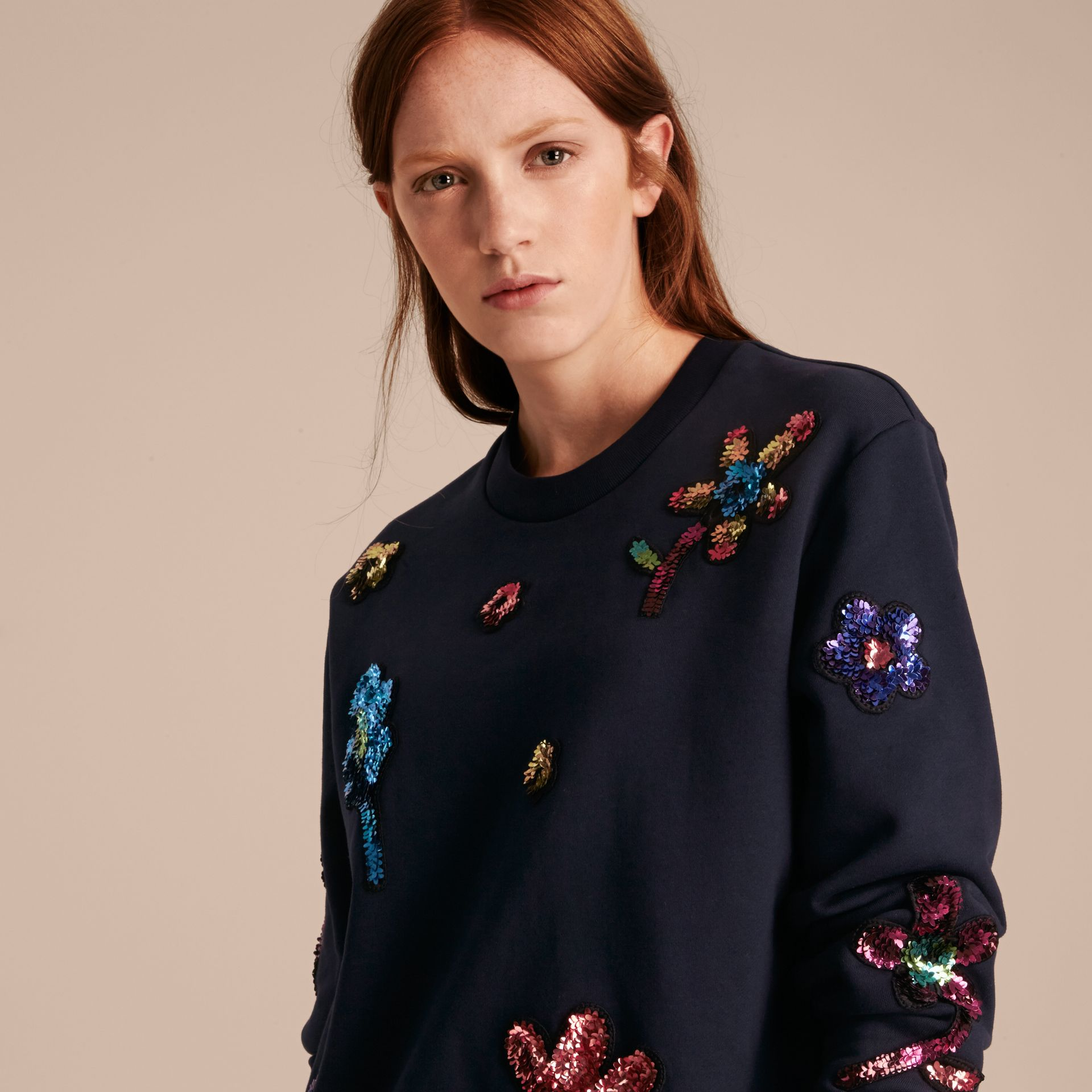 Navy Sequin Floral Appliqué Cotton Sweatshirt - gallery image 5