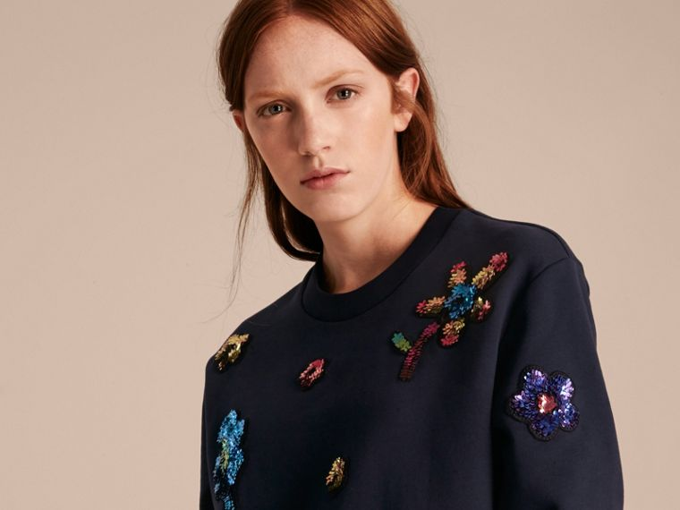 Navy Sequin Floral Appliqué Cotton Sweatshirt Navy - cell image 4