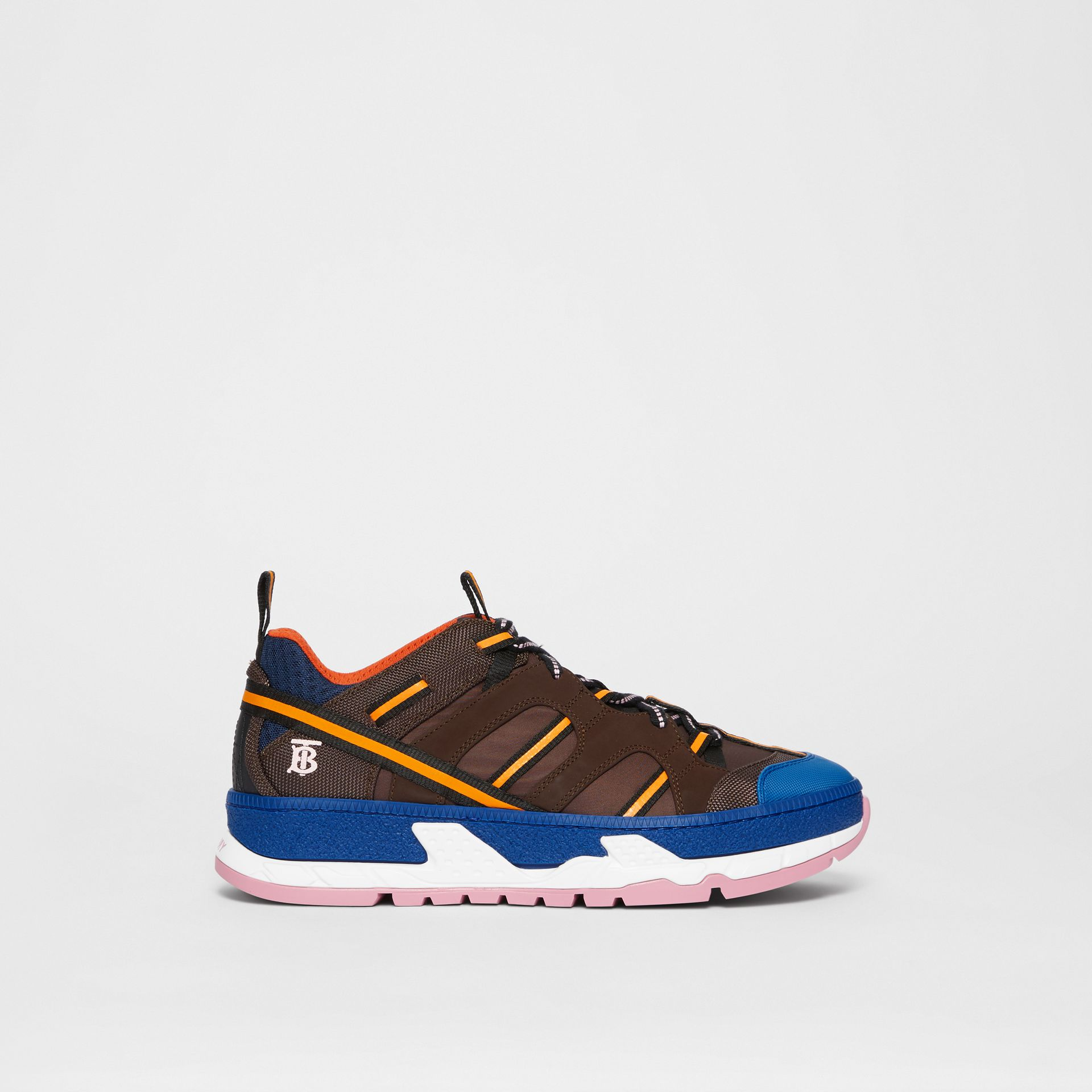 Nylon and Mesh Union Sneakers in Coffee/blue - Men | Burberry Singapore - gallery image 5