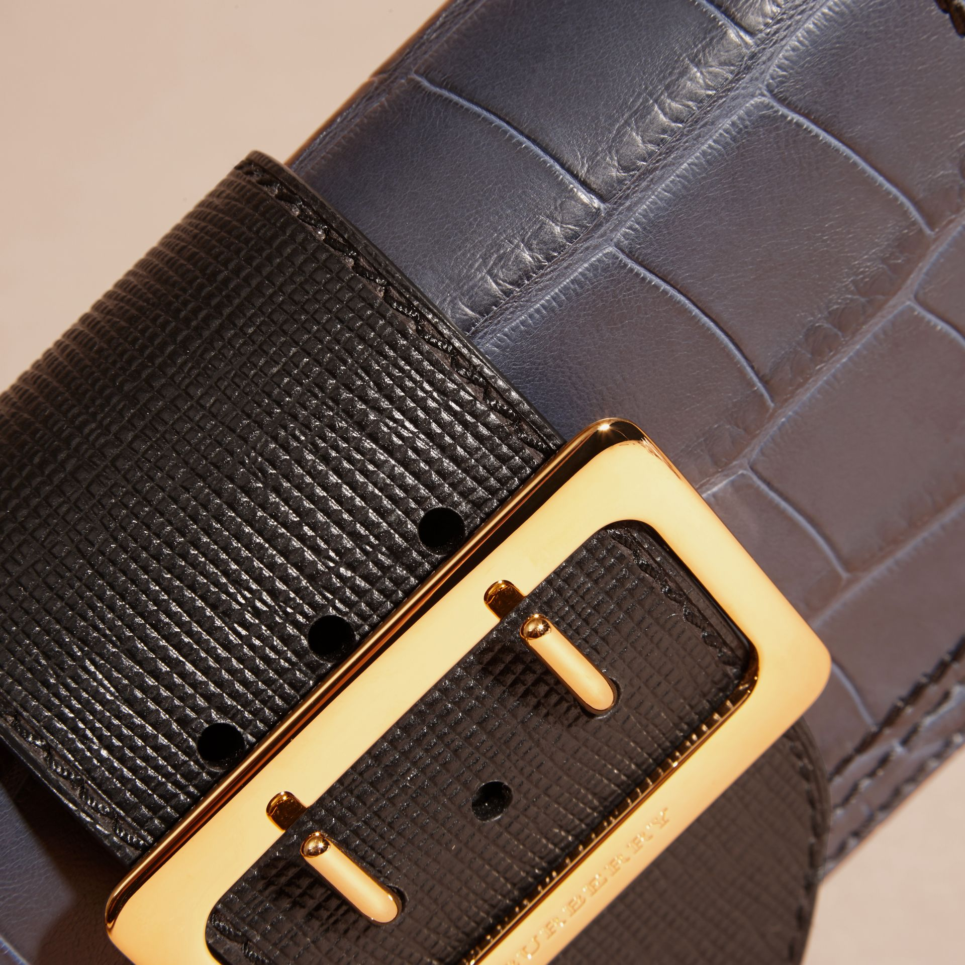 The Small Buckle Bag in Alligator and Leather in Navy / Black - Women | Burberry Canada - gallery image 7