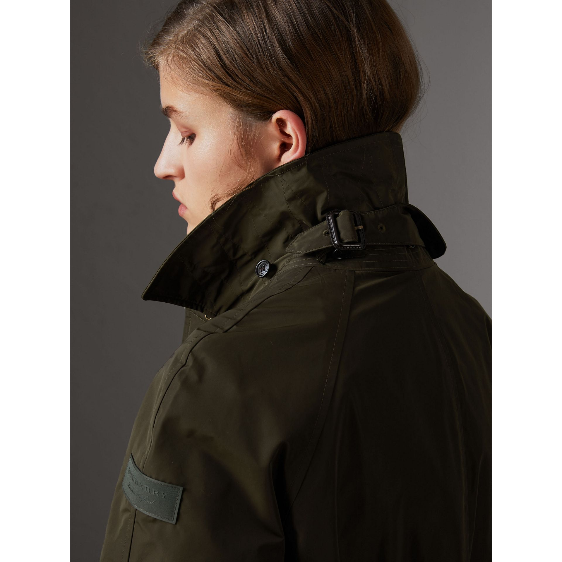 Detachable Hood Showerproof Car Coat in Dark Olive - Women | Burberry United States - gallery image 1