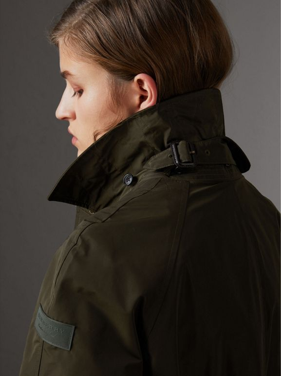 Detachable Hood Showerproof Car Coat in Dark Olive - Women | Burberry United Kingdom - cell image 1