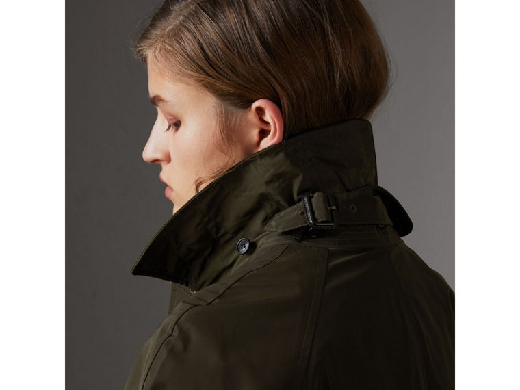 Detachable Hood Showerproof Car Coat in Dark Olive - Women | Burberry United States - cell image 1