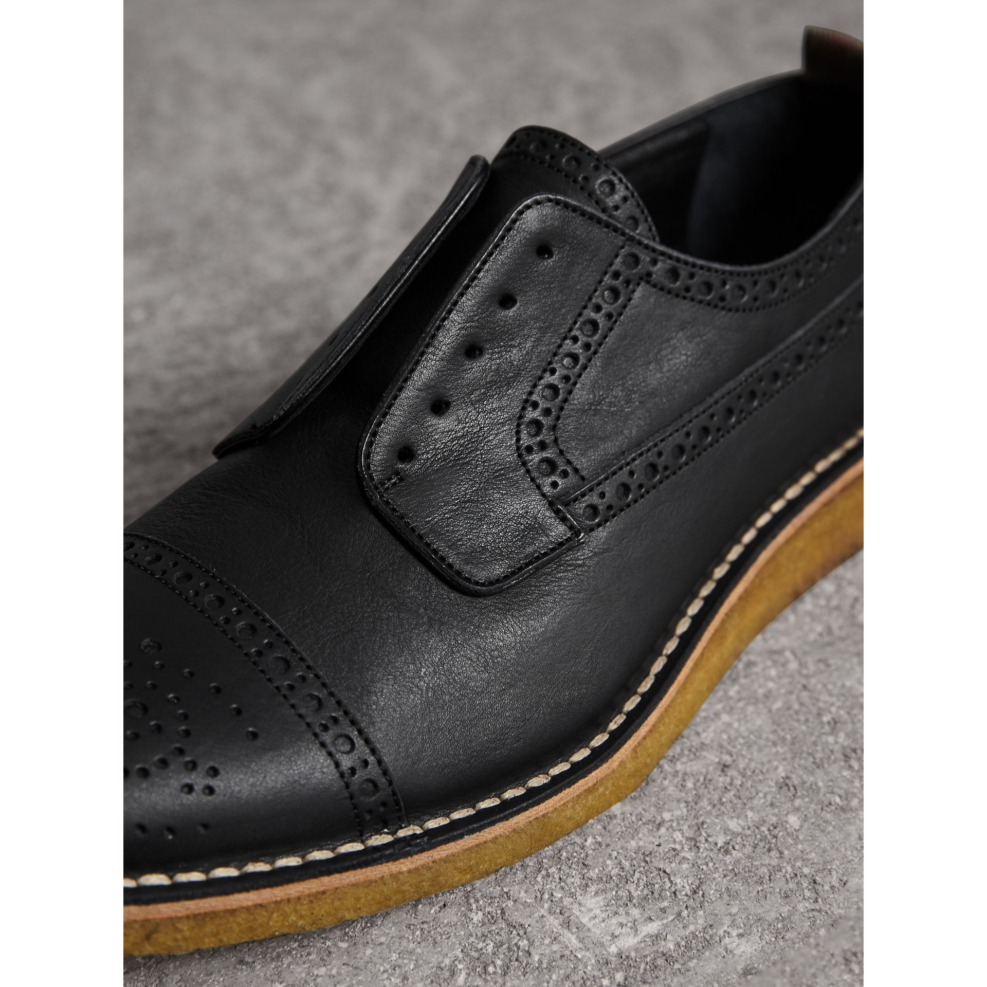 Raised Toe-cap Leather Brogues in Black - Men | Burberry - gallery image 2