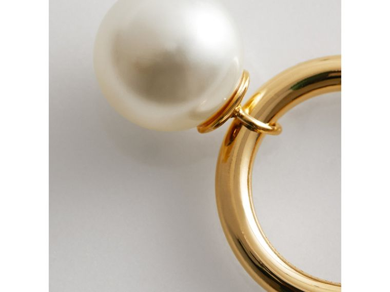 Faux Pearl Charm Gold-plated Ring in Light Gold/white - Women | Burberry Singapore - cell image 1