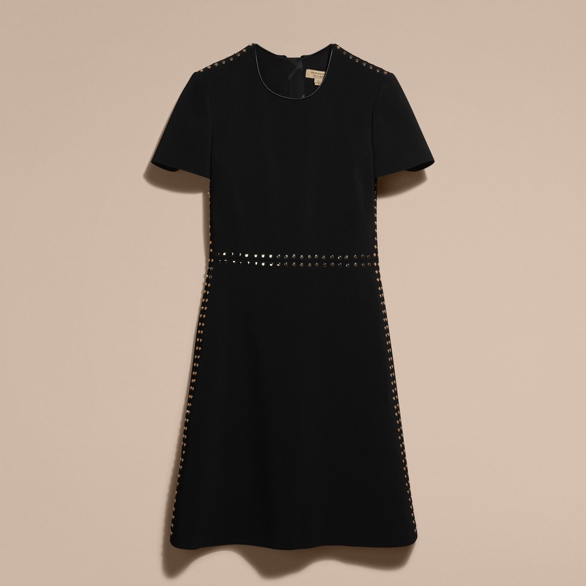 Preto Vestido tubinho ajustado com botões de pressão - galeria de imagens 4
