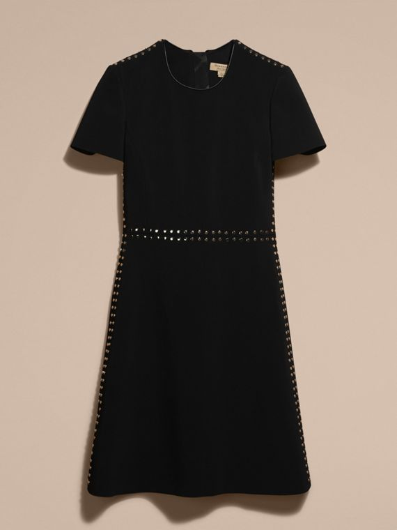 Black Fitted Shift Dress with Studs - cell image 3