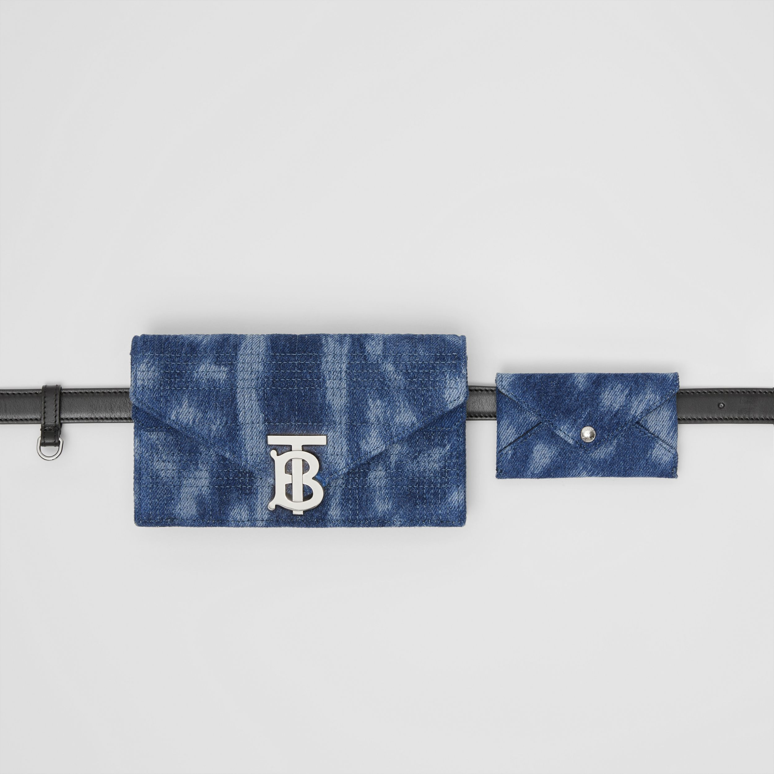 Belted Quilted Denim TB Envelope Clutch in Blue - Women | Burberry Canada - 3